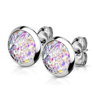 Druzy Stud Earrings SURGICAL STEEL Hypoallergenic - AB, Blue or Purple - BOXED