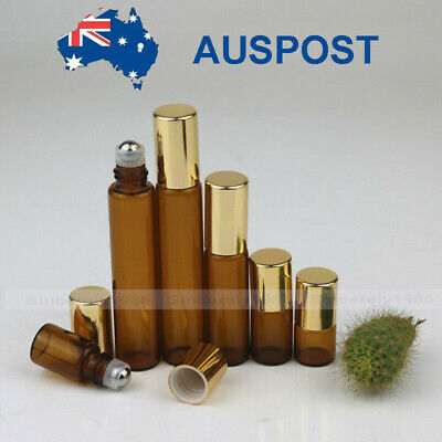 10X 100X Amber 1ml - 10ml Glass Roll on Bottles Sample Roller for Essential Oils