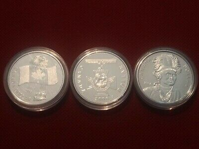 Canada Commemorative Gold Plated Silver Dollar Set 2005, 2006, 2007 Flag, Cross