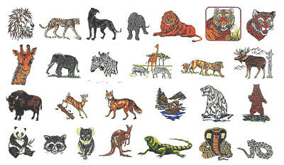 WILD ANIMALS #30 Embroidery Card for Brother, Bern. Deco, Baby Lock .pes