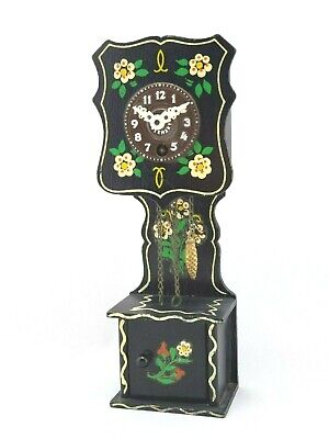 Vintage German Miniature Grandfather Cuckoo Clock Black USED UNTESTED HOM010-1