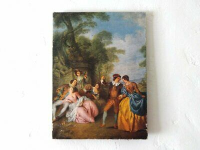 """Antique French """"Merry Company"""" Canvas Lithograph Print"""