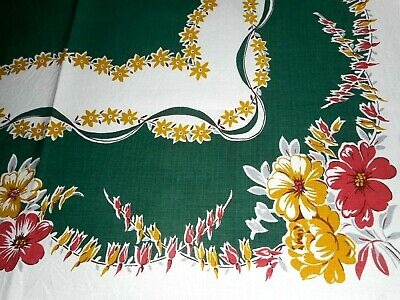 """Vintage printed Tablecloth Floral on Green/ White 45 1/2"""" x 50"""" Simtex Tag"""