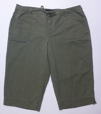 Riveted By Lee Pants Womens Sz 26 Green Capri Khaki Tie In Front Great Condition