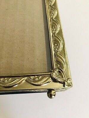 "Vintage Picture Frame Embossed Raised Design Brass Tone Metal Ball Feet 8""x10"""