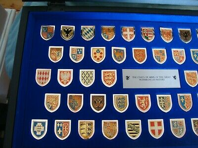 Set 50 Metal Coats of Arms of Great Monarchs of History in glass case & papers
