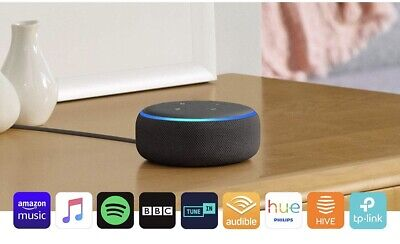 Echo Dot (3rd Gen) Charcoal Fabric Smart Speaker With Alexa Voice Control New