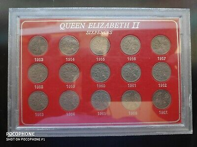 Queen Elizabeth II Complete Set Of Sixpences From 1953-1967 - Collectable