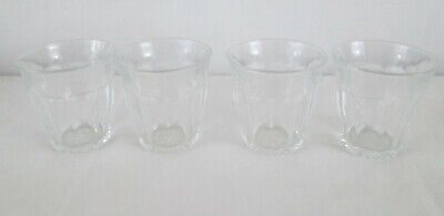 "Vintage Set of 4 DURALEX FRANCE 2.75"" WHISKY SHOT GLASSES Clear w Panels 2-3oz"