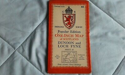 Ordnance survey popular edition: one-inch, Dunoon and Loch fyne #65 1925