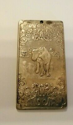 Antique white metal scroll weight - Water Buffalo -123 gms