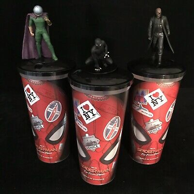 SPIDER-MAN Far From Home Marvel Figure Movie Cinema 0.5L Drink Cup SET 3 Toppers