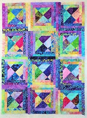 """BATIK """"From Left-Overs"""" Quilt Top ~ Made In Colorado (0038) 27.75x37.75"""