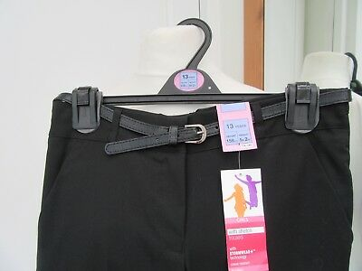 M&S Girls Black Stretch Trousers Stormwear Crease Resistant Age 13 Height 158Cms