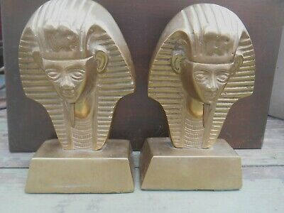 VINTAGE 60's EGYPTIAN SPHINX SOLID BRASS PAIR DETAILED BOOK ENDS