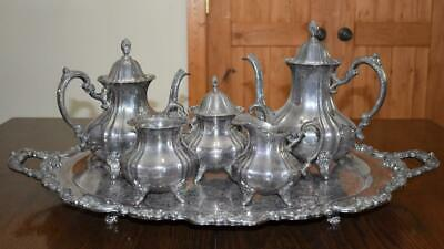 "POOLE Silverplate 7 Pc LANCASTER ROSE Coffee SERVING SET w/ 30"" Tray EPNS"