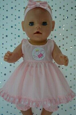 "Play n Wear Dolls Clothes To Fit 17"" Baby Born  PINK DRESS~BLOOMERS~HEADBAND"