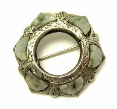 Antique Victorian c1890 Sterling Silver Scottish Agate Iona Marble Brooch Pin