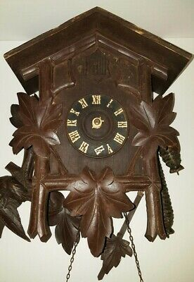 Antique German Cuckoo Clock Black Forest Hand Made Sprague Brass Movement VTG