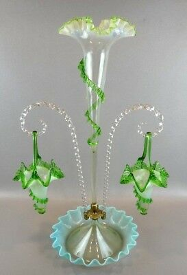 Antique Victorian GREEN OPALESCENT Epergne with Trumpet Vases ~STUNNING~