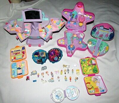 Vintage Lot Polly Pocket Bluebird Compacts Carry Case 2 Lighted People Animals