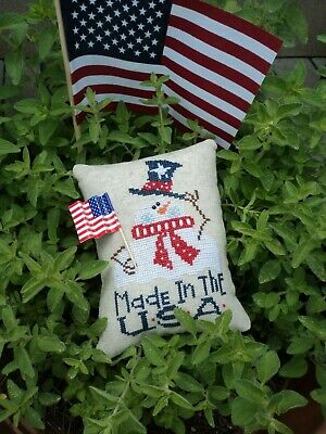 Bent Creek Made in the USA Completed Cross Stitch Patriotic pillow ornament Flag