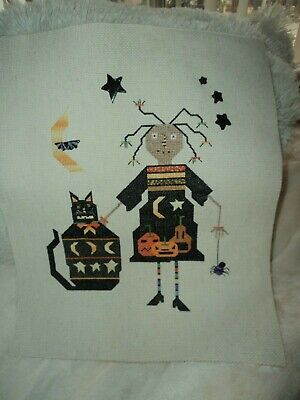 Prairie Moon Cross Stitch Fright Night Completed Primitive Halloween Raggedy Ann