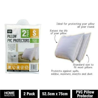 Pillow Protector PVC 52.5cm x 75cm each 2pk White Pillow Covers Zip Closure PJ