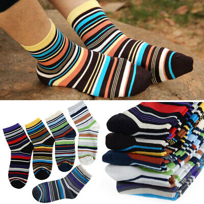 5 Pairs Lot Men's Designer Fashion Dress Socks Casual Striped Style Multi Color