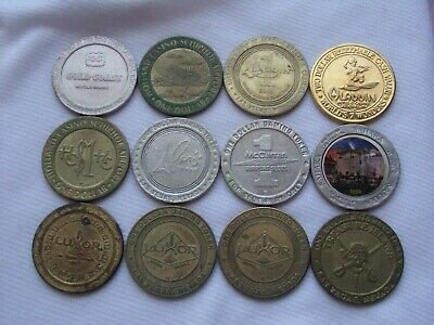 Lot Of 12 Mixed Casino Gaming Tokens From Various Locations