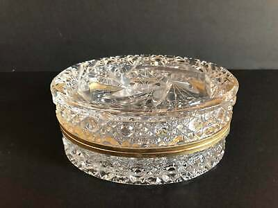 Hollywood Regency Crystal Vanity Dresser Jar Powder Box With Hinged Lid Pristine