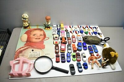 Vintage Vintage / Antique Junk Drawer Lot Collectibles Toys Hot Wheels Cars WWE