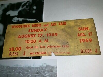 Woodstock Authentic Sunday 1969 Ticket Jimi Hendrix Janis Joplin Grateful Dead N