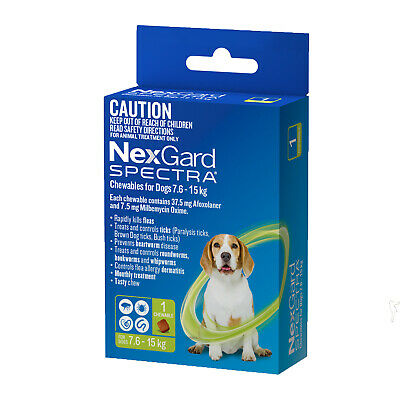 1 Single Chew NexGard Spectra For Dogs 7.6 -15kg Tick Worm & Flea Treatment