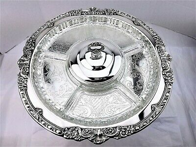 """Sheridan Silver Footed Lazy Susan Rotating Serving Tray Dome Lid 6 Liners 18""""w"""