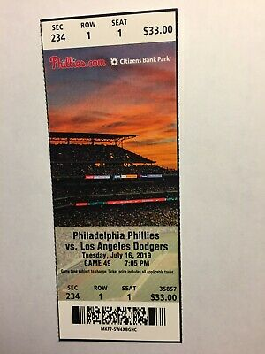 Philadelphia Phillies Vs Los Angeles Dodgers July 16, 2019 Ticket Stub