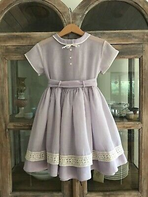 Pretty 1950's vintage girl sheer party dress in mauve & white with sash tie