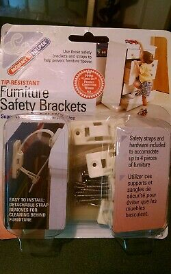 Mommy's Helper Tip Resistant Furniture Safety Brackets-8 Pack for 4 Units NEW
