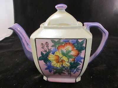 Luster Ware Tea Pot Highlighted With A Beautiful Purple Made In Japan Vintage