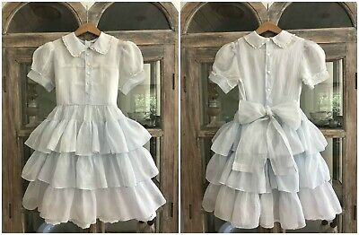 """1950's vintage """"Love"""" sheer blue tiered ruffle party dress & petticoat -pageant"""