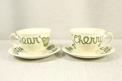 LOT of  TWO SETS Wood & Sons COUNTRY GREEN Cups and Saucers   MINT!
