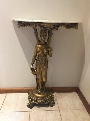 Rare Godess Gilt Marble Console Hall Table Oak Antique French Style
