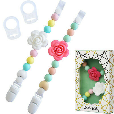 ❤  Vesta Baby Silicone Pacifier Clip and Teether Holder Set (Colorful) ❤