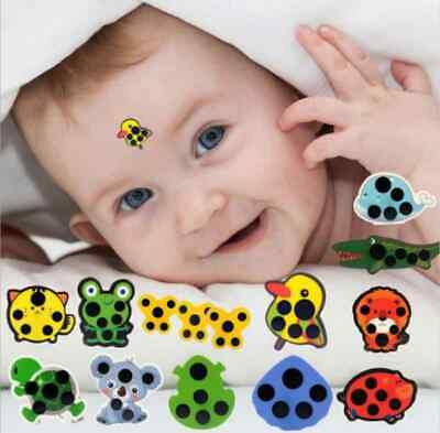 48hr Stick on Baby Thermometer Kids LCD Cartoon Forehead Temperature Monitor ...