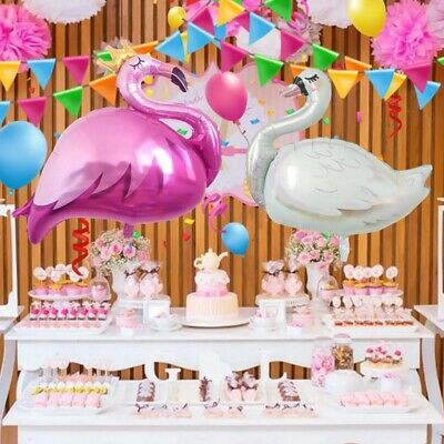 Exquisite Animial Foil Birthday Party Balloons Crown Pink Flamingo + White Swan#
