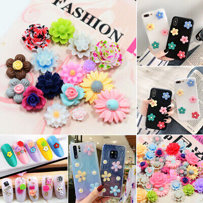 NEW 50Pcs Mix Resin Rose Flower Flatback Appliques DIY For Phone/Wedding/Crafts