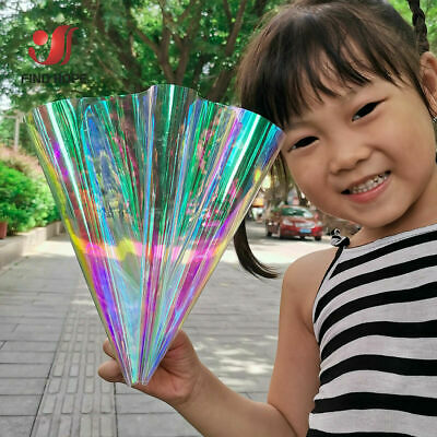 Laser Iridescent Holographic Clear Transparent PVC Fabric Material Bow Craft Bag