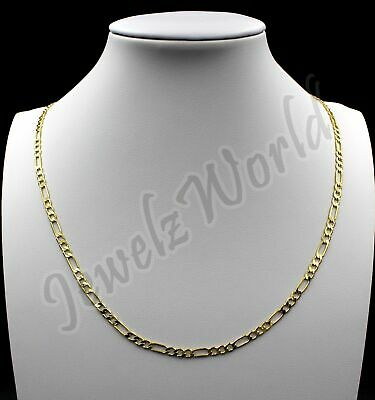 "10K Solid Yellow Gold Figaro Chain Link Pendant Necklace 16"" 18"" 20"" 22"" 24"" 30"""