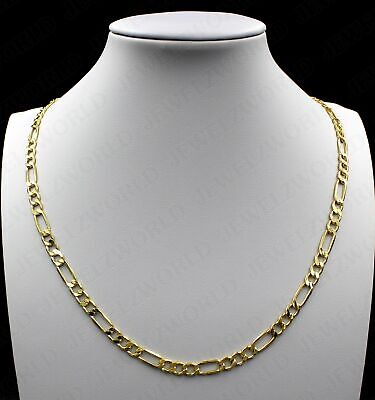 """10K Solid Yellow Gold Figaro Link Chain Necklace 2.5MM 16"""" 18"""" 20"""" 22"""" 24"""" 30"""""""