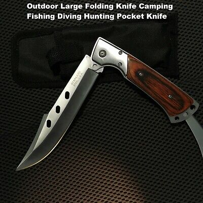 Outdoor Large Folding Knife Camping Fishing diving Hunting Pocket Knife AU stock